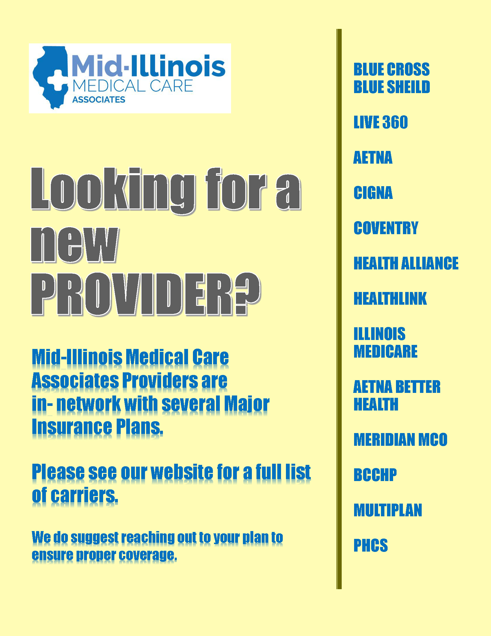 Looking for a new PROVIDER